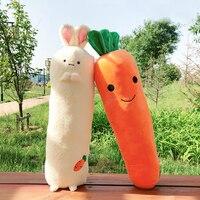 candice guo! cute plush toy lovely cartoon long body rabbit smiling carrot soft stuffed cushion hug pillow birthday gift 1pc