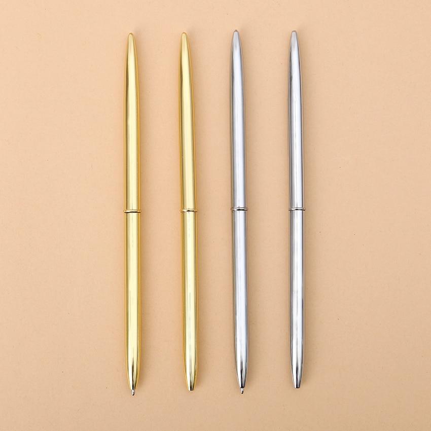 3 PCS Korean Steel Rod Rotating Metal Ballpoint Pens Stationery Superfine Ballpen Novelty Gift for Student Writing Pen