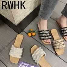 RWHK 2019 summer new style open-toe flip-flops women wear fashion pearl cloth flat-bottomed slippers wild B144