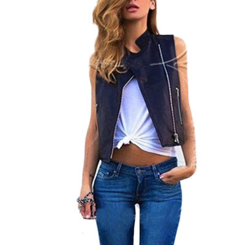 2017 Autumn Vest Female Short Jacket Women Motorcycle Leather Vest  Sleeveless Short Design Slim(China - Popular Womens Leather Motorcycle Vest-Buy Cheap Womens Leather
