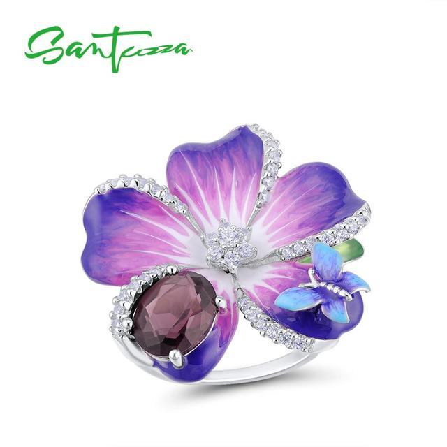 SANTUZZA Silver Ring For Women 925 Sterling Silver Purple Flower Butterfly Delicate Ring Party Chic Jewelry Handmade Enamel
