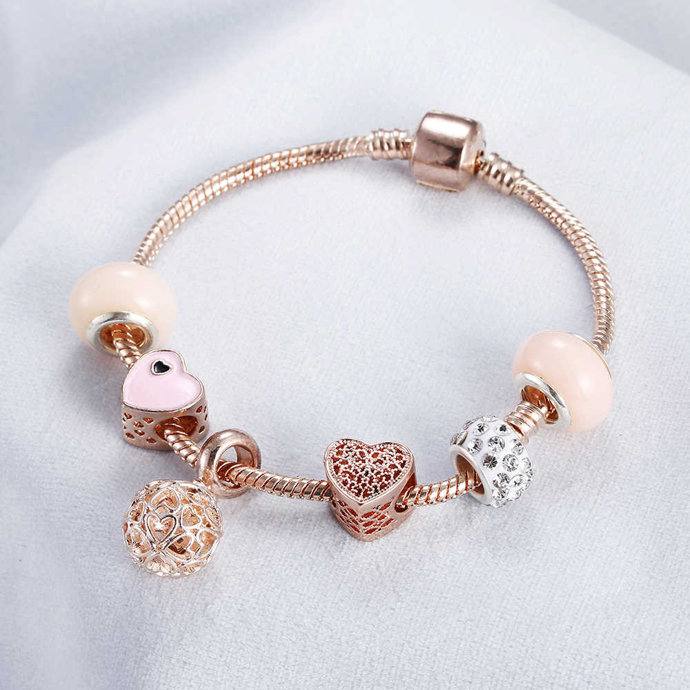 Rose Gold Bracelet Cherry Blossom Tassel Ball Crystal Bead Pendant Charm Trend Bracelets & Bangles For Women Jewelry Girl Gifts