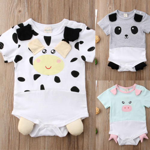 2018 New Summer Cute Baby Girls Boys Animal Romper Panda&Cow Pig Jumpsuit Outfits Cotton Nebworn Short Sleeve Sunsuit Clothes