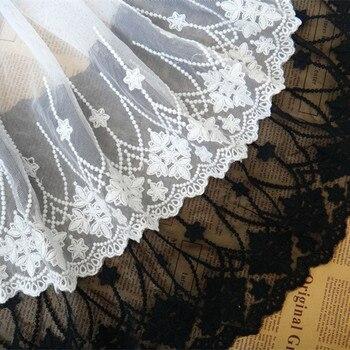Envío Gratis exquisita decoración de encaje accesorios de ropa diy 23cm de ancho, 4 yardas/lote de tela de encaje negro