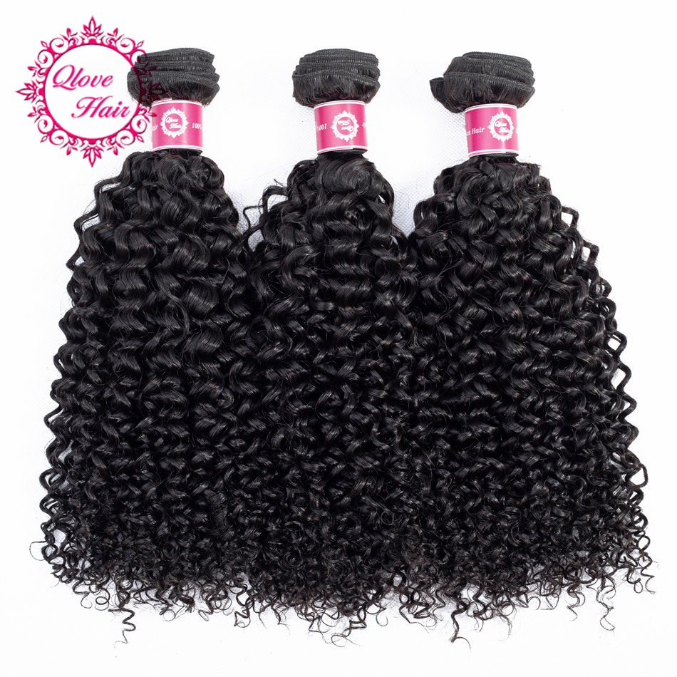 QLove Hair Pre-colored 3 Bundles Kinky Curly Weave India Hair Bundles In Extension Hair Natural Color Non Remy Hair