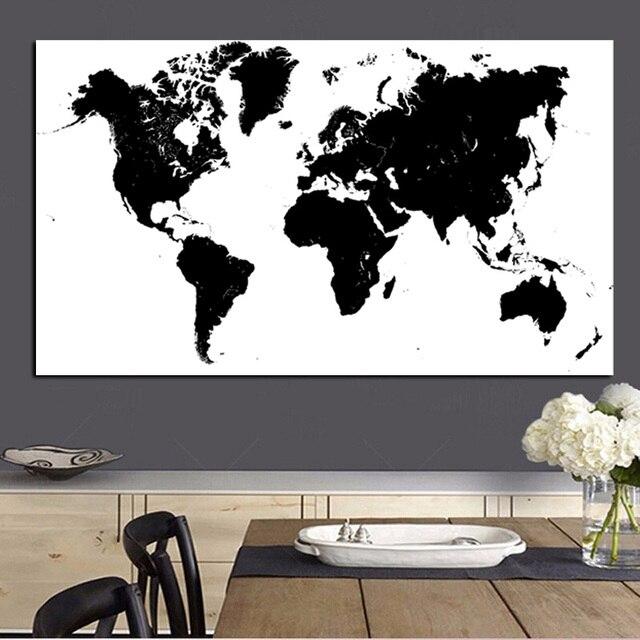 Grande Taille Abstrait Noir et Blanc Carte Du Monde Moderne