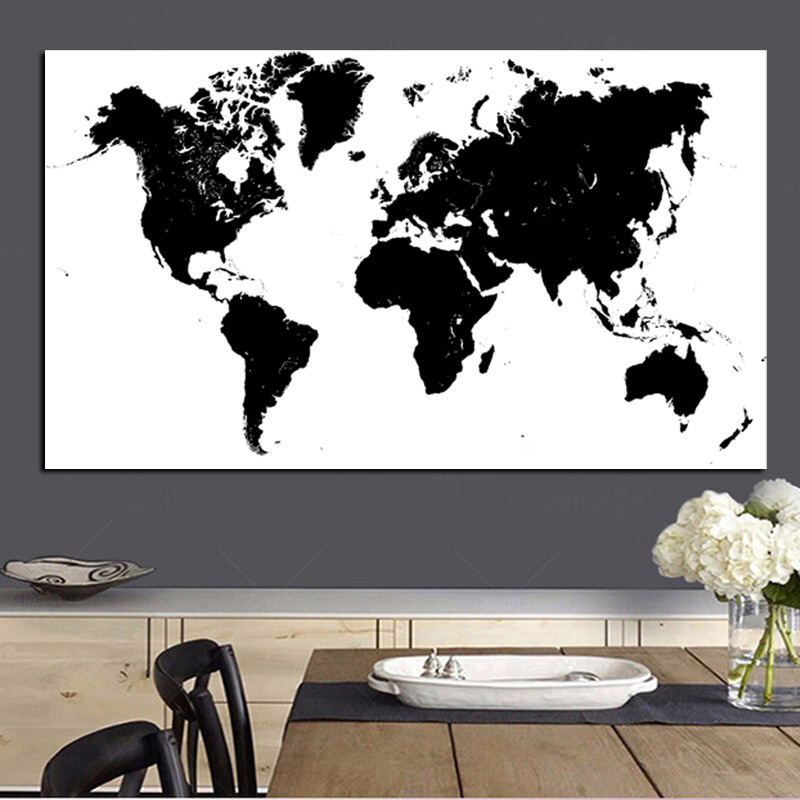 Large Size Abstract Black and White World Map Modern