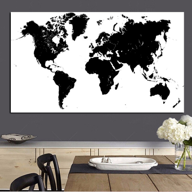 Large size abstract black and white world map modern painting on large size abstract black and white world map modern painting on canvas poster print wall art gumiabroncs Choice Image