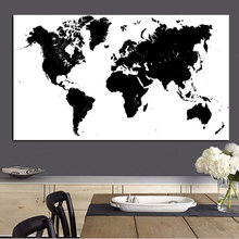Large Size Abstract Black and White World Map Modern Painting on Canvas Poster Print Wall Art Picture for Living Room Cuadros(China)