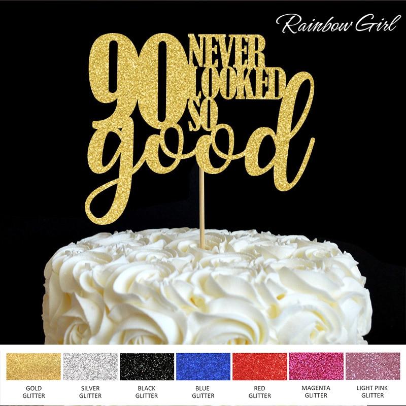 90 soha nem nézett ki olyan jónak, mint a 90-es évforduló születésnapi ünnepi dekoráció Cake Picks