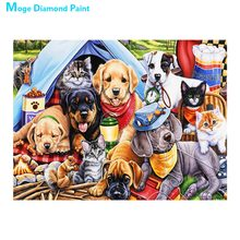 dog and cat Diamond Painting Full Round animal New DIY Sticking Drill Cross Embroidery 5D simple Home Decoration dog and cat diamond painting full round animals new diy sticking drill cross embroidery 5d cartoon simple home decoration