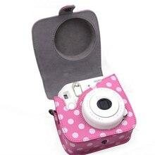 Hot-venda de Alta Qualidade 12*5.5*12.5 Rosa Câmera Saco Saco de Ombro do PLUTÔNIO capa de couro camera bag para fuji fujifilm instax mini 8 Mini8s