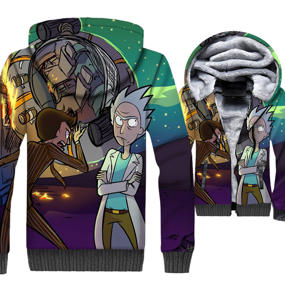 Fashion 3D Sweatshirt Male 2018 Autumn Winter Brand Clothes Hooded Hoody Anime RICK AND MORTY Streetwear Hoodies Men Jackets in Hoodies amp Sweatshirts from Men 39 s Clothing