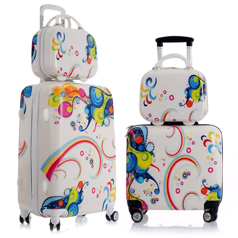 Lovely 1PC Childrens Suitcases Aluminum Alloy Pull Rod Rolling Luggage Sets Waterproof Child Suitcases and Travel Bags on Wheel