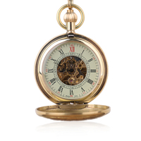 Fashion Classic Golden Hand Wind Mechanical Pocket Watch Transparent Case Mechanical Hand Wind