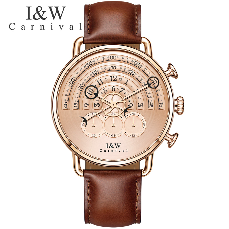 CARNIVAL Mens Watches Top Brand Luxury Men Quartz Watch Waterproof Sports Military Watches Men Leather relogio masculino 2017 ibso outdoor leisure sports watches for men genuine leather band quartz mens watches 2018 fashion waterproof relogio masculino