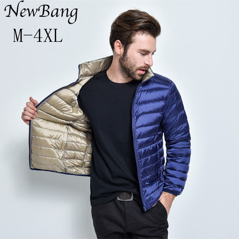 NewBang Brand Men's Down Jacket Puffer Ultra Light Down Jacket Men Autumn Winter Double Side Feather Reversible Parka