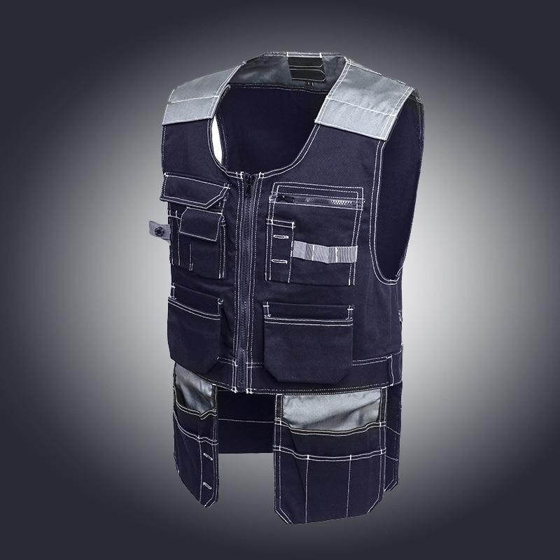 цены на Bauskydd Mens work vest carpener mechanic waistcoat work wear Dark blue working vest free shipping