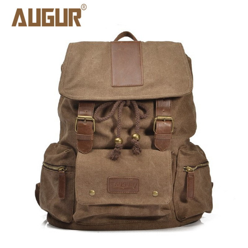 2018 NEW AUGUR Travel Bags For Men/Women Vintage Military Style Backpacks Casual School Bag Men Backpack Canvas Large Backpack zuoxiangru vintage canvas women men backpack army style notebook men rucksack military 15inch laptop school backpacks women