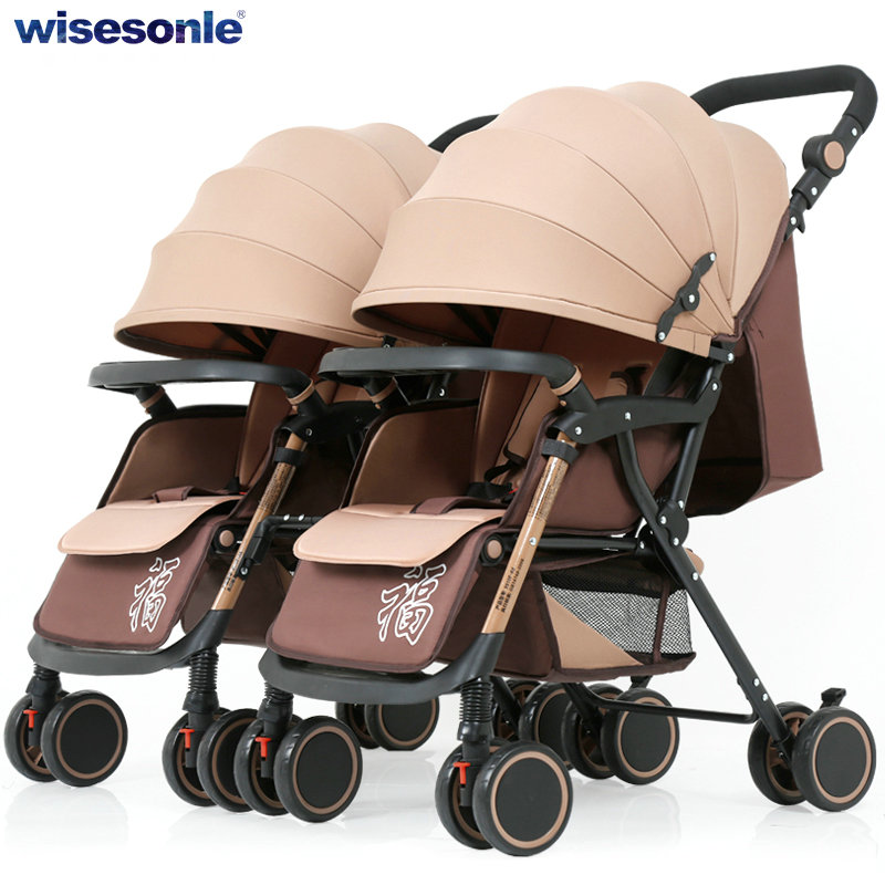 Foldable Twins Stroller, can Split into 2 Single Baby Stroller, twins can sit can lie baby pram, lightweight baby carriage angelguard high landscape twins baby stroller can split ultra light umbrella can be two color twins baby stroller