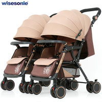 Foldable Twins Stroller, can Split into 2 Single Baby Stroller, twins can sit can lie baby pram, lightweight baby carriage