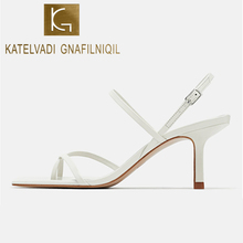 KATELVADI Women Sandals Sexy 7CM High Heel Elegant White PU Buckle Strap Open Toe Party Shoes Wedding K-399