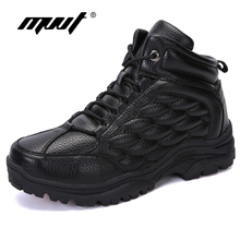 New Waterproof Split Leather Men Boots Outdoor Snow Keep Warm Winter With Fur For Non-slip Platform Ankle