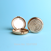 1Piece Gold Round Empty Cosmetic Blusher Case DIY Plastic Eyeshadow Powder Container Lipstick Sub Storage Box