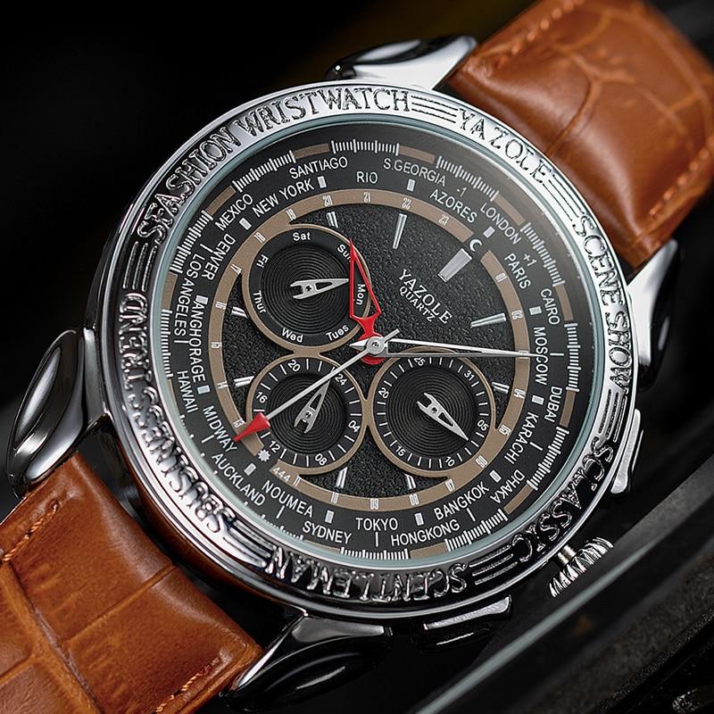 2019 Fashion Mens Watches Top Brand Luxury YAZOLE Men Watch Waterproof Male Clock Multifunction Design Business Watches Relogio