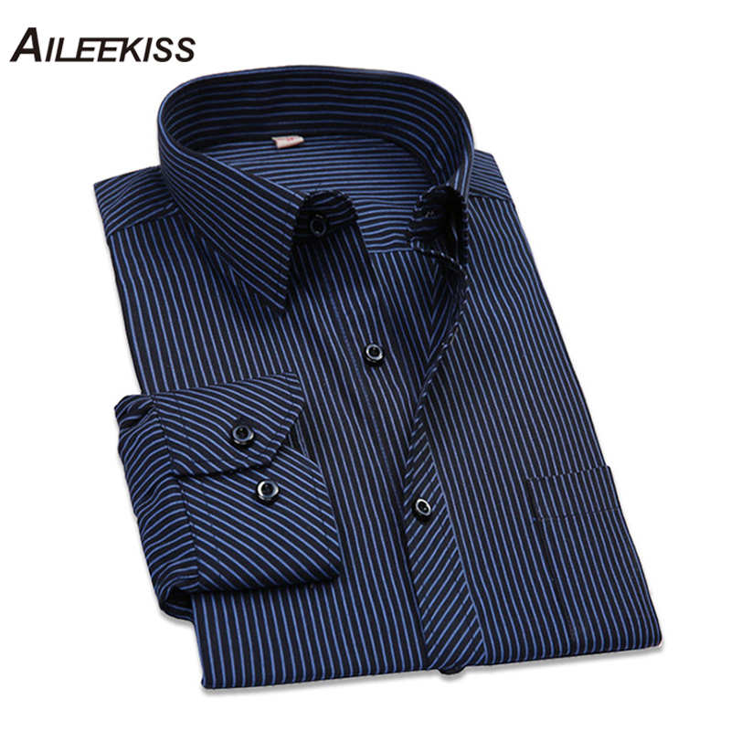 2019 Cotton Men Shirt Long Sleeved Striped Solid Plaid Male Business Shirt Brand Clothing Formal Shirts Man Chemise Homme XT660