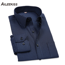 2019 Cotton Men Shirt Long Sleeved Striped Solid Plaid Male