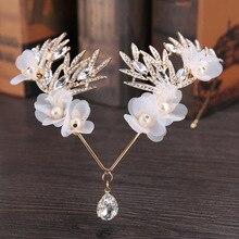 Crystal Crown Bridal Hair Accessory Wedding Rhinestone Waterdrop Leaf Tiara Crown Headband Frontlet Bridesmaid Hair Jewelry