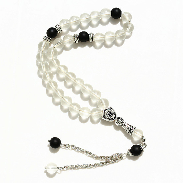 8mm White frosted Beads with charm Round Shape 33 Prayer Beads Islamic Muslim Tasbih Allah Mohammed Rosary For Men&Women