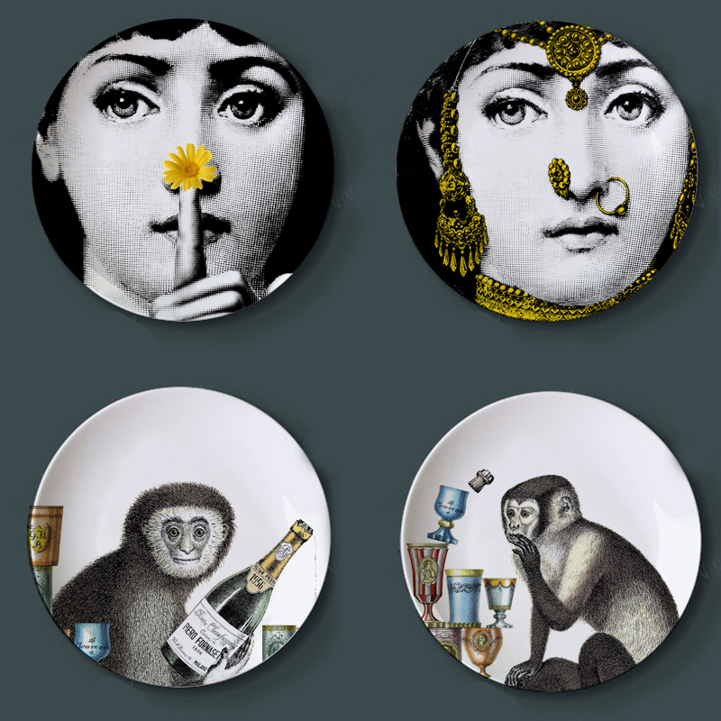 Fashion Milan Piero Fornasetti Plates Colorful illustration Wall Hanging Dishes Sample Room/Home/Hotel Decoration
