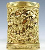 New Pure copper brush pot copper brass brush pot dragon decoration