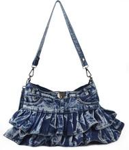 2016 new arrival unique casual japanese and korea style girl's jean shoulder bag denim novelty mini skirt bag