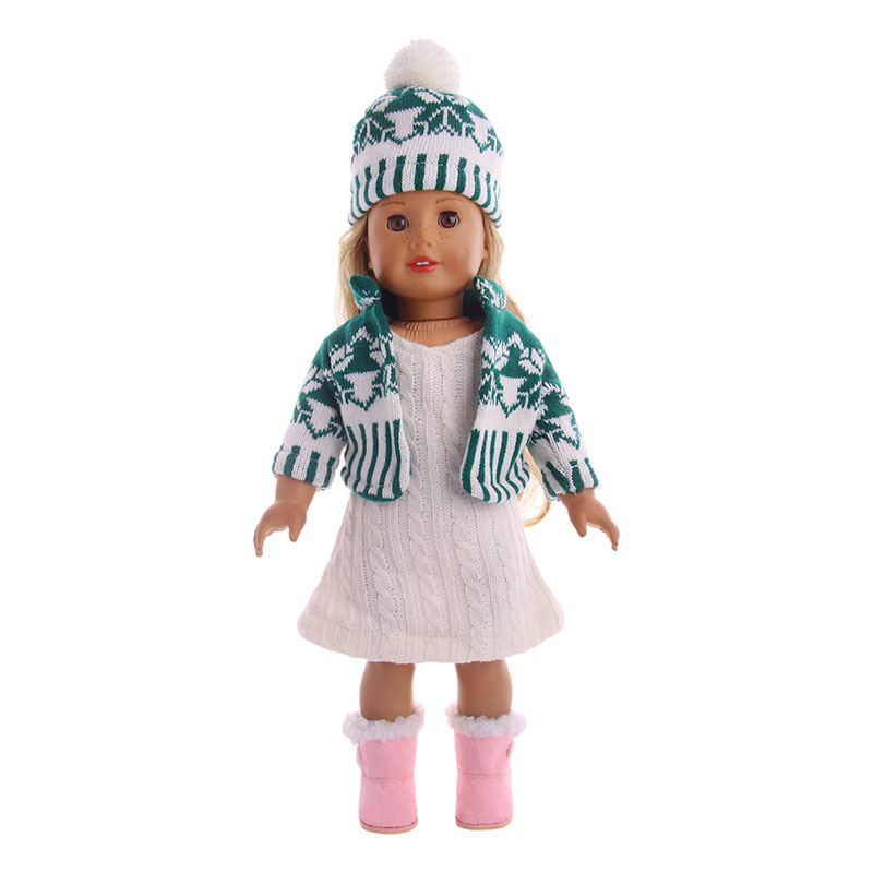 Doll Clothes 3 Pcs Sweater+Hat+Coat Fit 18 Inch American&43 Cm Born Doll For Generation Christmas Baby Girl`s Toy