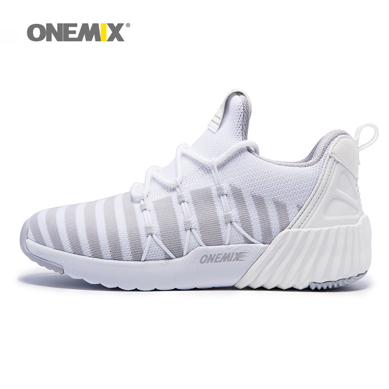 ONEMIX New Woman Running Shoes for Women High Top Classic Trends Walking Sneakers White Athletic Trainers Outdoor Sports Boots 5 2018 men warm winter running shoes high top athletic sneakers sports outdoor fitness women jogging trend trainers walking boots