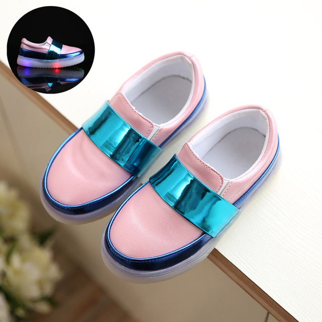 2017 spring female male child lamp skateboarding shoes flat color block decoration colorful child casual shoes casual