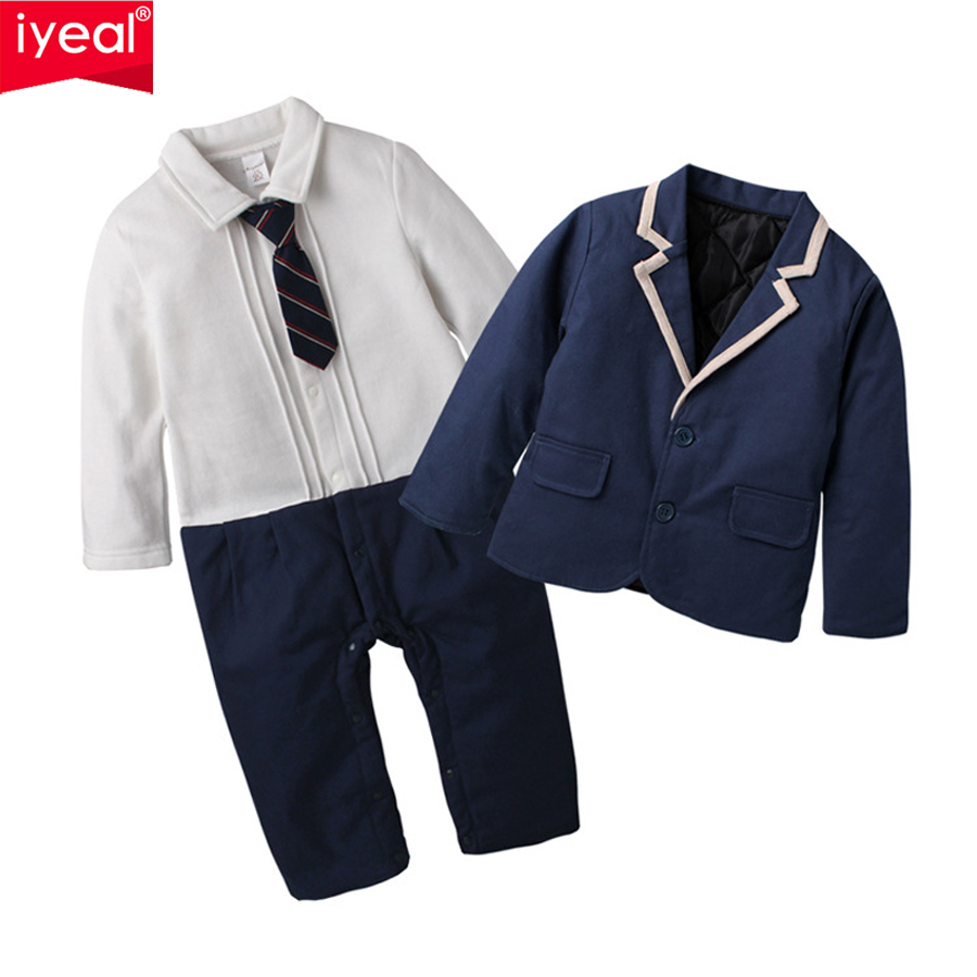 IYEAL New Baby Boy Clothes Formal Kid Newborn Rompers Sets Cotton Gentleman Fashion Tie Jumpsuit Overalls + Jacket Coat 2Pcs/set