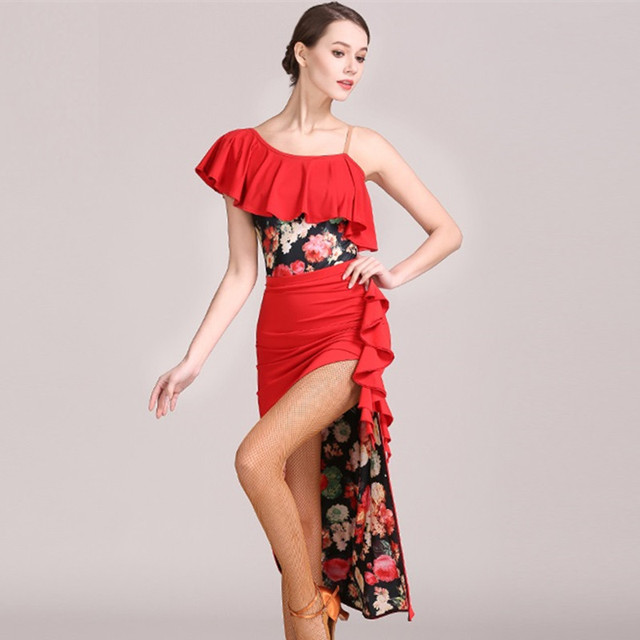 d032ddf95d2 red woman latin dance dress for women latin dress yellow tango dress Latina  salsa dress tango dancewear latin top skrit