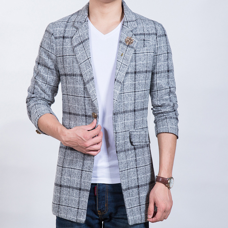 New-Arrival-Casual-Blazer-Plaid-Woolen-Suit-Jacket-Slim-Fit-Brand-Clothing-Long-windbreaker-jacket-Men (1)