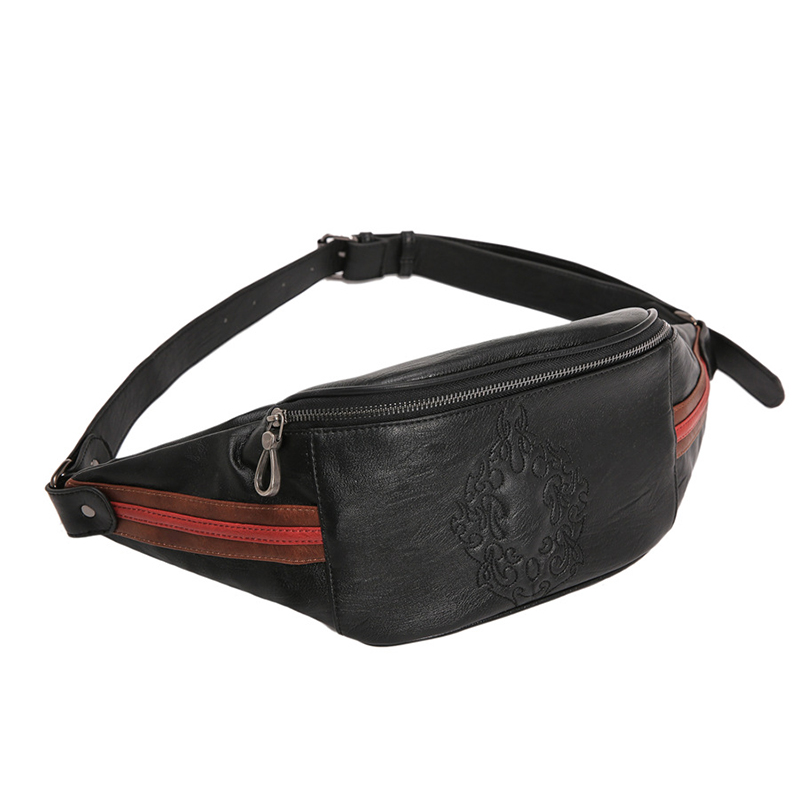 2019 New Arrival Men's Waist Bags Personality Pattern Chest Bag Male Fashion PU Leather Crossbody Shoulder Bags Handy Fanny Pack