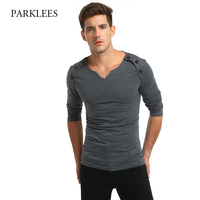 Brand Grey T Shirt Men 2017 Casual V Neck Design Tee Shirt Homme Long Sleeve Slim