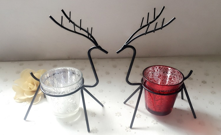 Enthousiast 1 St Iron Herten Tafel Kandelaar Kamer Decoratie Benodigdheden Kerst Kaars Elanden Houder Gewoon Elegante Elanden Mk020