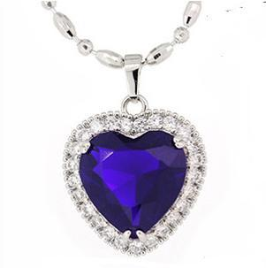 2016 hot sell ocean sea blue love heart crystal 925 sterling silver ladies`pendant necklaces jewelry gift wholesale