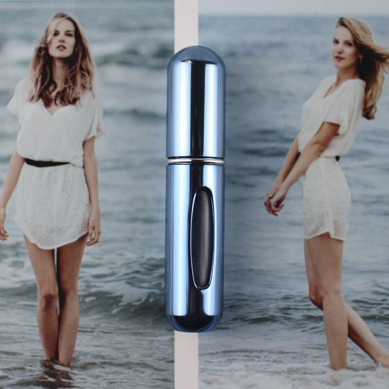 1 шт. высокое качество 5 мл флакон духов мини металлический распылитель многоразовый Алюминиевый распылитель для парфюма размер путешествия - Цвет: Shiny Sky Blue