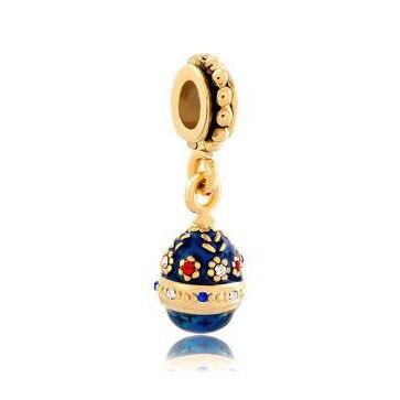 Fit Pandora charm bracelets Blue Easter Faberge Egg Flower Dangle Golden Charm Bracelet Spacers Beads for jewelry making