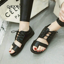 Купить с кэшбэком 2019 New Style Summer Gladiator Sandals Female Square Low Heels Pumps Lace Up Open Toe Casual Shoes Women Size 34-43