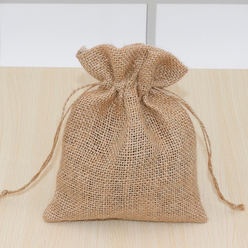 Natural Jute Bag Drawstring Gift Bag Incense Storage Linen Bag Cosmetic Jewel Accessories Packaging Bag